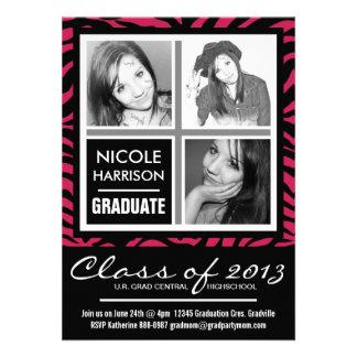 Fiesta de graduación de la foto de la cebra 3 de l invitacion personalizada