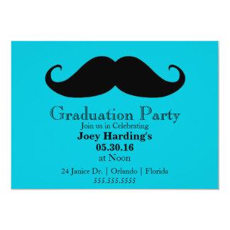 """Fiesta de graduación del bigote invitación 5"""" x 7"""""""