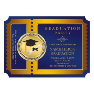 Fiesta de graduación del boleto del azul y del oro invitación 12,7 x 17,8 cm