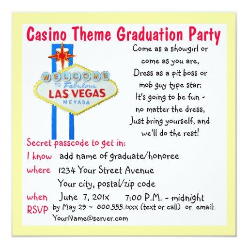 """Fiesta de graduación del estilo de Vegas del tema Invitación 5.25"""" X 5.25"""""""
