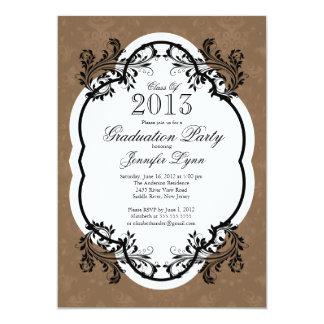 Fiesta de graduación elegante de Brown del damasco Invitación Personalizada