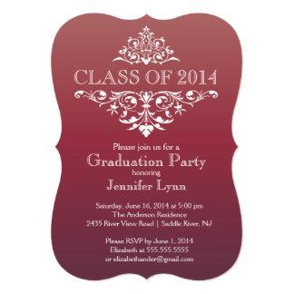 """Fiesta de graduación elegante formal del Flourish Invitación 5"""" X 7"""""""