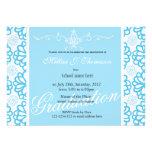 Fiesta de graduación floral azul elegante del invitacion personal