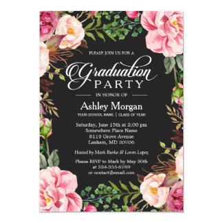 """Fiesta de graduación floral de la tipografía con invitación 5"""" x 7"""""""