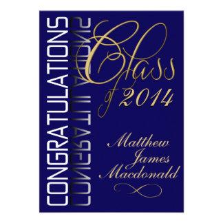 Fiesta de graduación formal de la reflexión azul comunicados personales