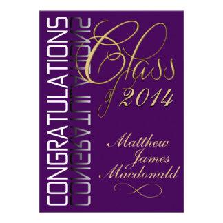 Fiesta de graduación formal de la reflexión púrpur invitación personalizada