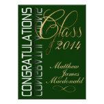 Fiesta de graduación formal de la reflexión verde comunicados personalizados