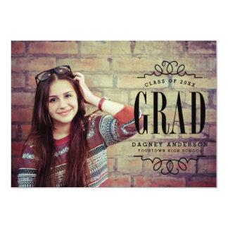"""Fiesta de graduación graduada con clase de la foto invitación 5"""" x 7"""""""
