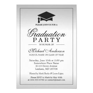 """Fiesta de graduación - mirada metálica de plata invitación 5"""" x 7"""""""