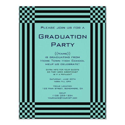 """Fiesta de graduación negra de las rayas de los invitación 4.25"""" x 5.5"""""""