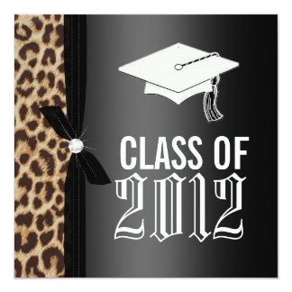 """Fiesta de graduación negra del leopardo invitación 5.25"""" x 5.25"""""""