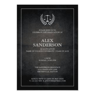 """Fiesta de graduación negra y de plata del colegio invitación 5"""" x 7"""""""