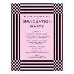Fiesta de graduación negra y rosada de las rayas d comunicado personalizado