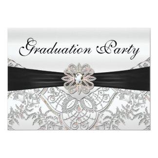 Fiesta de graduación negra y rosada de plata anuncio personalizado