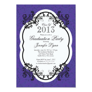 Fiesta de graduación púrpura elegante del damasco comunicados