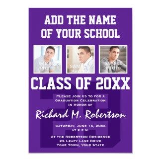 """Fiesta de graduación púrpura y blanca del atleta invitación 5"""" x 7"""""""