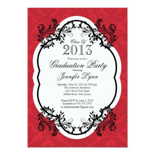 Fiesta de graduación roja elegante del damasco del invitación 12,7 x 17,8 cm