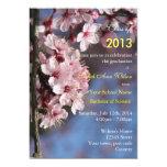 Fiesta de graduación rosada de la flor de cerezo invitacion personalizada