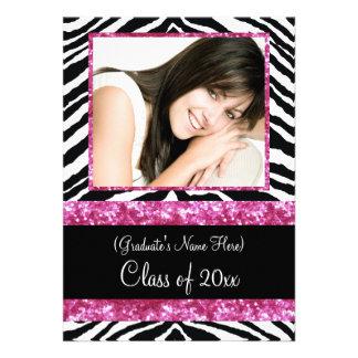 Fiesta de graduación rosada de los chicas de la ch invitación personalizada