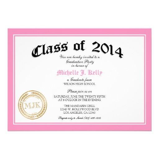 Fiesta de graduación rosada del diploma 2014 invitaciones personales