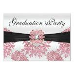 Fiesta de graduación rosada elegante del brillo invitacion personal