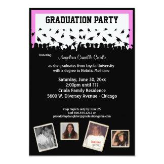 """Fiesta de graduación rosada y negra de la silueta invitación 5"""" x 7"""""""