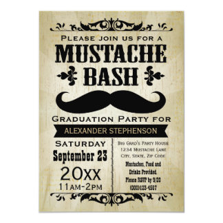 Fiesta de graduación rústica del golpe del bigote anuncio personalizado