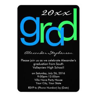 Fiesta de graduación tipográfica azul/del verde invitación 12,7 x 17,8 cm