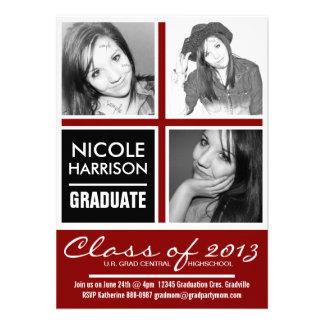 Fiesta de graduación triple negra y roja de la MOD Invitacion Personalizada