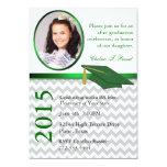 Fiesta de graduación verde de Chevron de la foto Invitación 12,7 X 17,8 Cm