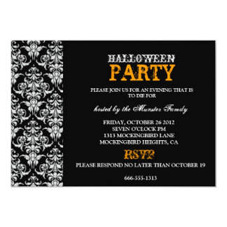 "Fiesta de Halloween - damasco gótico negro Invitación 5"" X 7"""