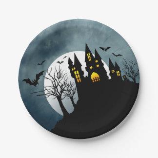 Fiesta de Halloween de la casa encantada Plato De Papel De 7 Pulgadas