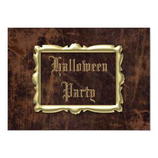Fiesta de Halloween de la Cuero-mirada del vintage Invitación 11,4 X 15,8 Cm
