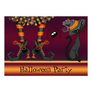 Fiesta de Halloween de las piernas del gato y de Comunicado Personal
