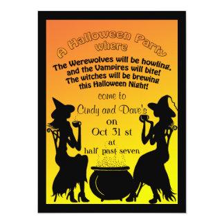 """Fiesta de Halloween del Brew de las brujas Invitación 5.5"""" X 7.5"""""""