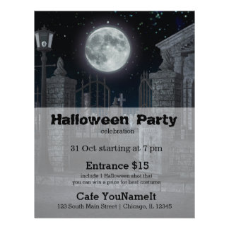 "Fiesta de Halloween del cementerio Folleto 8.5"" X 11"""