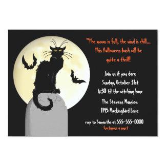 """Fiesta de Halloween del gato negro y de la Luna Invitación 5"""" X 7"""""""