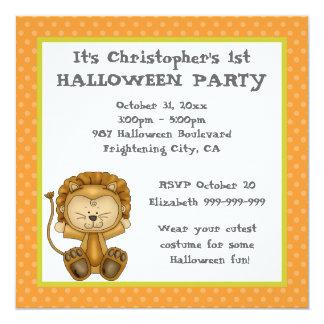 Fiesta de Halloween del león del bebé primer Invitación Personalizada