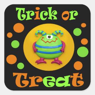 Fiesta de Halloween del monstruo Pegatina Cuadrada