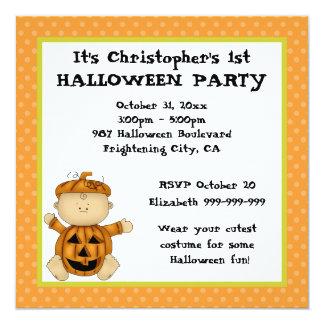 """Fiesta de Halloween del niño de la calabaza del Invitación 5.25"""" X 5.25"""""""