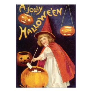 Fiesta de Halloween del vintage bruja con las cal Comunicado Personalizado