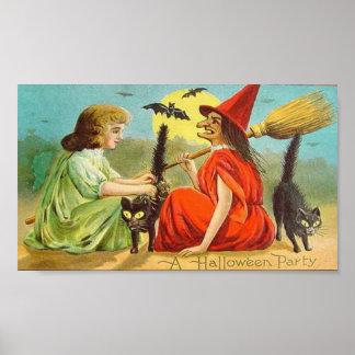 Fiesta de Halloween del vintage con la bruja y los Póster