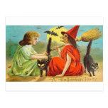 Fiesta de Halloween del vintage con la bruja y los Postal