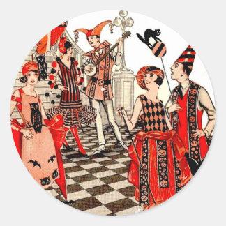 Fiesta de Halloween del vintage Pegatina Redonda