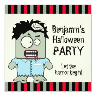 """Fiesta de Halloween del zombi del dibujo animado Invitación 5.25"""" X 5.25"""""""