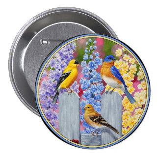 Fiesta de jardín colorida de los pájaros de la pin redondo 7 cm