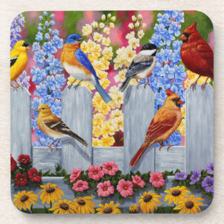 Fiesta de jardín colorida de los pájaros de la posavasos de bebidas