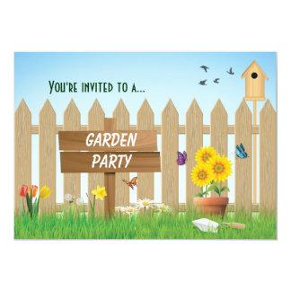 Fiesta de jardín del día soleado invitación 12,7 x 17,8 cm