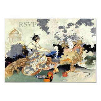 """Fiesta de jardín japonesa RSVP del vintage hermoso Invitación 3.5"""" X 5"""""""