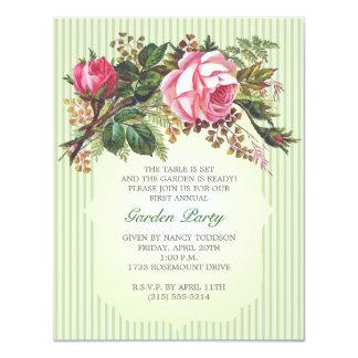 Fiesta de jardín subió vintage del ramo invitacion personalizada